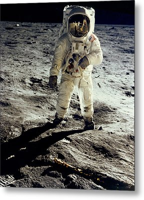 Man On The Moon Metal Print by Neil Armstrong/Underwood Archive