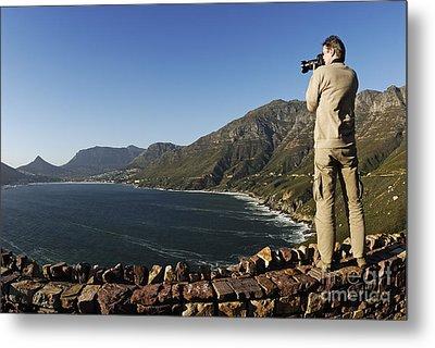 Man Photographing Hout Bay Metal Print by Sami Sarkis