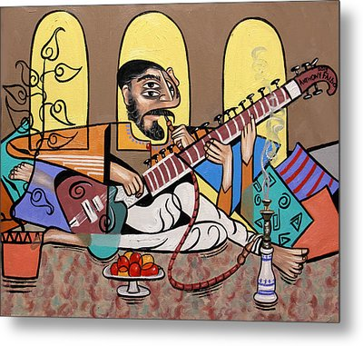 Man Playing A Sitar Metal Print by Anthony Falbo