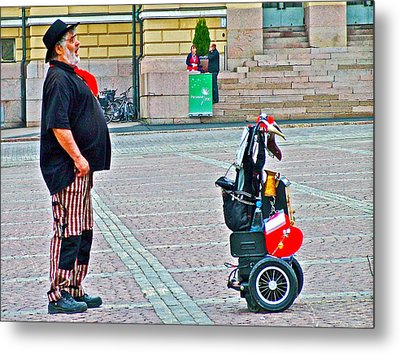 Man Singing In Senate Square In Helsinki-finland Metal Print by Ruth Hager