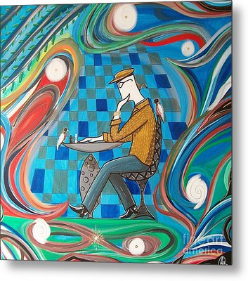 Man Sitting In Chair Contemplating Chess With A Bird Metal Print by John Lyes