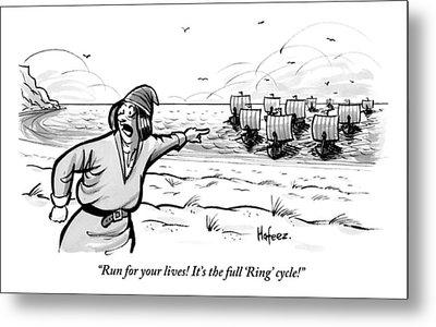 Man Standing On The Beach Screams As A Fleet Metal Print