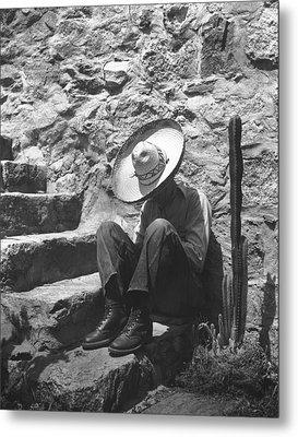Man Taking A Siesta Metal Print by Underwood Archives