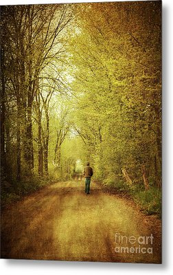 Man Walking  On A Lonely Country Road Metal Print by Sandra Cunningham