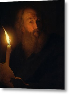 Man With A Candle Metal Print