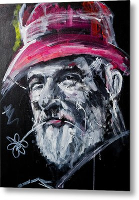 Man With A Flower Metal Print