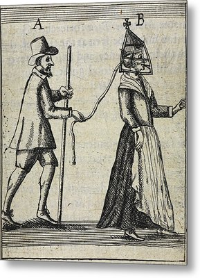 Man With A Woman On A Lead Metal Print by British Library
