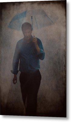 Man With An Umbrella Metal Print
