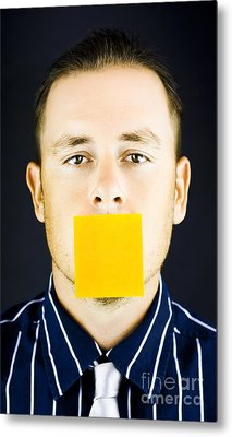 Man With Blank Paper Note Over His Mouth Metal Print