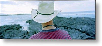 Man With Straw Hat Galapagos Islands Metal Print