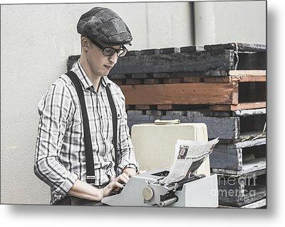 Man Writing On Old Typewriter Metal Print by Jorgo Photography - Wall Art Gallery