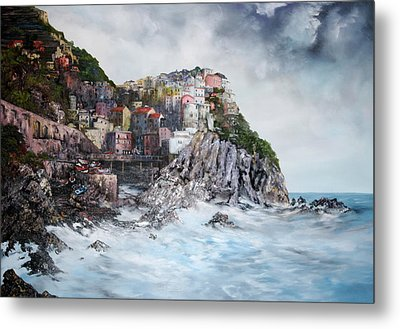 Metal Print featuring the painting Manarola Italy by Jean Walker