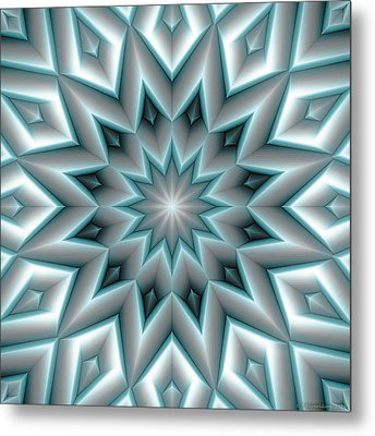 Mandala 107 Blue Metal Print by Terry Reynoldson