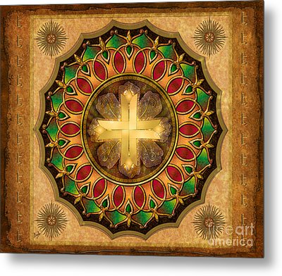 Mandala Illuminated Cross Sp Metal Print by Bedros Awak