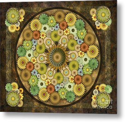 Mandala Stone Flowers Sp Metal Print by Bedros Awak