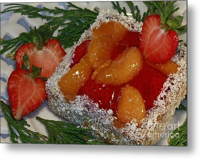 Mandarin And Strawberry Surprise Metal Print by Inspired Nature Photography Fine Art Photography