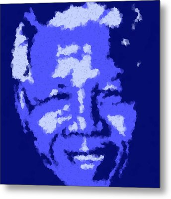 Mandela South African Icon  Blue And Green In The South African Flag Symbolize Fertility Scenery  Metal Print by Asbjorn Lonvig