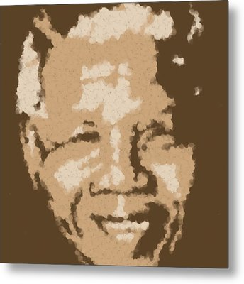 Mandela South African Icon  Brown Symbolizes High Ethical Standards And He Is Rewarded Le Prix De Le Metal Print by Asbjorn Lonvig