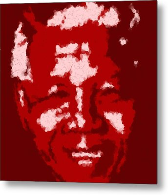 Mandela South African Icon  Red In The South African Flag Symbolizes The Struggle For Freedom Painti Metal Print by Asbjorn Lonvig