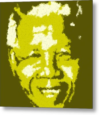 Mandela South African Icon  Yellow In The South African Flag Symbolizes Mineral Wealth Painting Metal Print by Asbjorn Lonvig