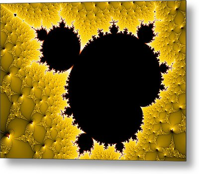 Mandelbrot Set Black And Yellow Fractal Art Metal Print