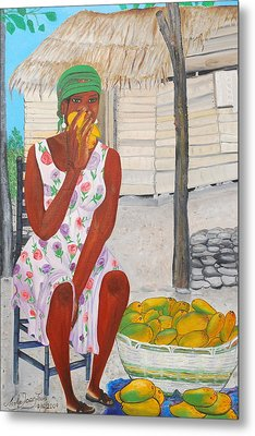 Mango Merchant Woman Metal Print by Nicole Jean-Louis