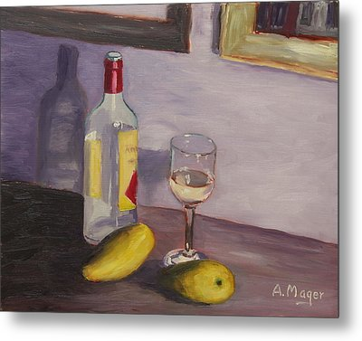 Mangoes And White Wine Metal Print by Alan Mager