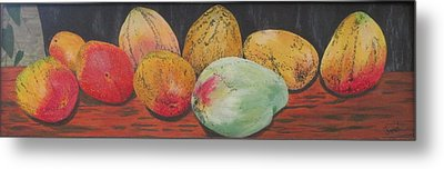 Metal Print featuring the painting Mangoes On The Barbie by Hilda and Jose Garrancho