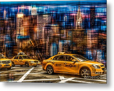 Manhattan - Yellow Cabs I Metal Print by Hannes Cmarits