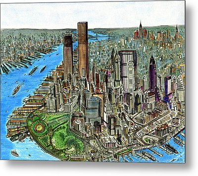 New York Downtown Manhattan 72 Metal Print by Art America Gallery Peter Potter