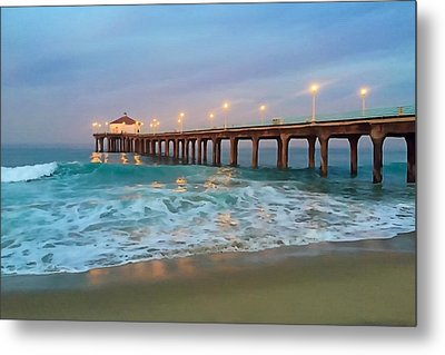 Manhattan Beach Reflections Metal Print