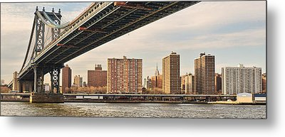 Manhattan Bridge And Empire State Building Metal Print