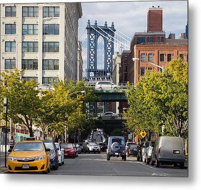 Metal Print featuring the photograph Manhattan Bridge From Dumbo by Jose Oquendo