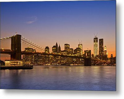 Manhattan Brooklyn Bridge Metal Print by Melanie Viola