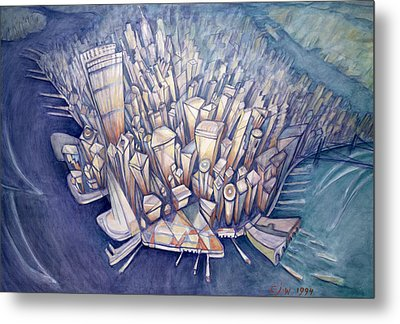 Manhattan From Above, 1994 Oil On Canvas Metal Print