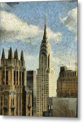 Manhattan City In A Clouldly Day Metal Print by Georgi Dimitrov