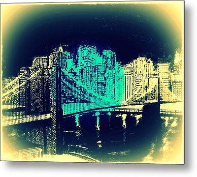Manhattan In Blue Metal Print by Irving Starr