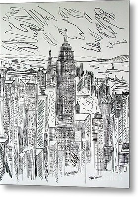 Metal Print featuring the drawing Manhattan by Janice Rae Pariza