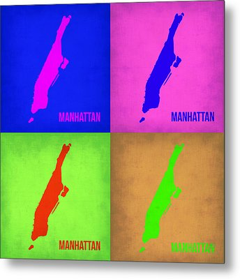 Manhattan Pop Art Map 1 Metal Print by Naxart Studio