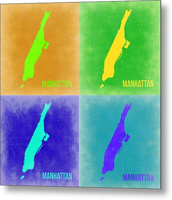 Manhattan Pop Art Map 2 Metal Print by Naxart Studio