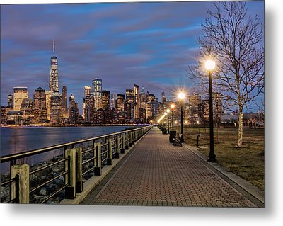 Manhattan Skyline At Twilight, Liberty Metal Print by F. M. Kearney