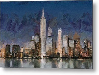 Manhattan Skyline At Blue Night Empire State Metal Print