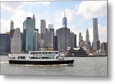 Manhattan Skyline With Boat Metal Print by Diane Lent