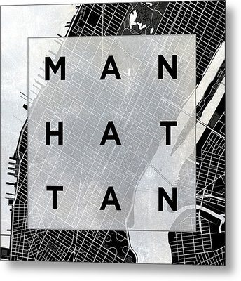 Manhattan Square Bw Metal Print by South Social Studio