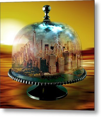 Manhattan Under The Dome Metal Print by Marian Voicu