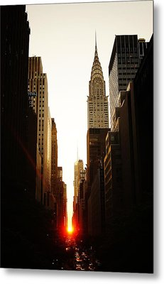 Manhattanhenge Sunset And The Chrysler Building  Metal Print by Vivienne Gucwa