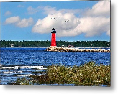 Manistique Lighthouse Metal Print by Christina Rollo