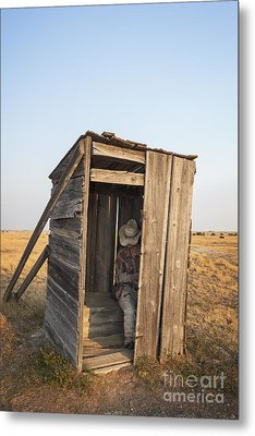 Mannequin Sitting In Old Wooden Outhouse Metal Print