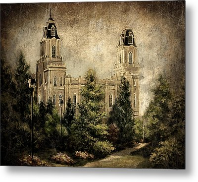 Manti Utah Temple-pathway To Heaven Antique Metal Print
