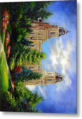 Manti Utah Temple-pathway To Heaven Metal Print